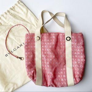 Bvlgari Pink Spell Out Designer Logo Canvas Maebea